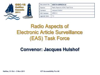 Radio Aspects of  Electronic Article Surveillance  (EAS) Task Force