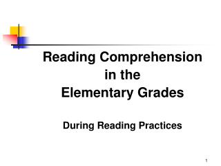 Reading Comprehension in the  Elementary Grades  During Reading Practices