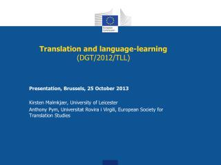 Translation and language-learning  (DGT/2012/TLL)