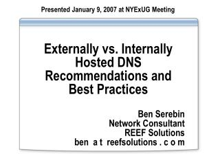 Externally vs. Internally Hosted DNS Recommendations and Best Practices