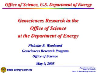 Geosciences Research in the Office of Science  at the Department of Energy