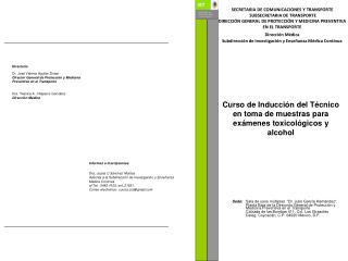 Curso de Inducción del Técnico en toma de muestras para exámenes toxicológicos y alcohol