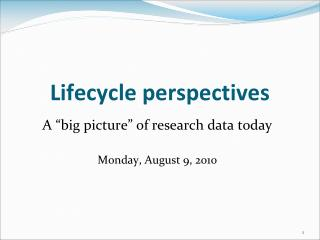 Lifecycle perspectives
