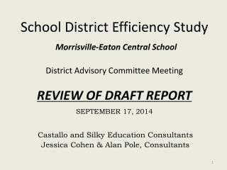 Castallo  and  Silky  Education  Consultants Jessica  Cohen & Alan Pole, Consultants