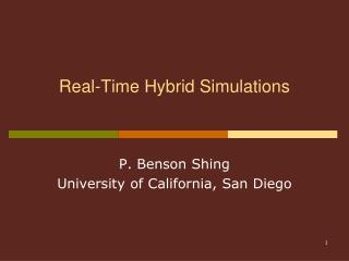 Real-Time Hybrid Simulations