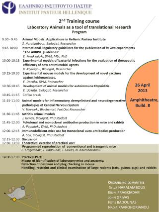 2 nd  Training course Laboratory Animals as a tool of translational research Program