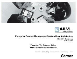 Enterprise Content Management Starts with an Architecture AIIM 2004 Conference 8 March 2004