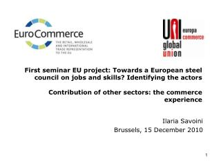First seminar EU project: Towards a European steel council on jobs and skills Identifying the actors  Contribution of ot