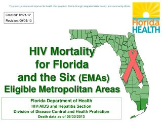 HIV Mortality for Florida  and the Six  (EMAs) Eligible Metropolitan Areas
