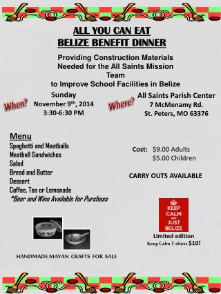 ALL YOU CAN EAT BELIZE BENEFIT DINNER