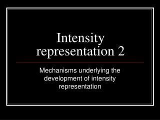 Intensity representation 2
