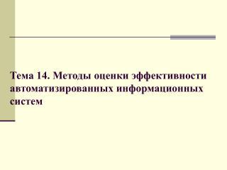 Тема 14. Методы оценки эффективности автоматизированных информационных систем