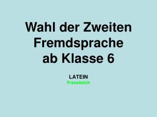 LATEIN Französich