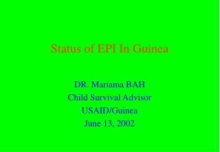 Status of EPI In Guinea