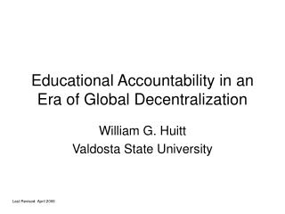 Educational Accountability in an Era of Global Decentralization