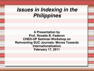 Issues in Indexing in the Philippines