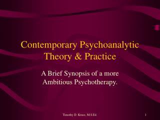 Contemporary Psychoanalytic Theory & Practice