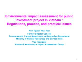 Environmental impact assessment for public investment project in Vietnam :