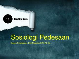 Sosiologi Pedesaan Dosen Pebimbing  :  Eko Nugroho S.Pt . M.  Sc