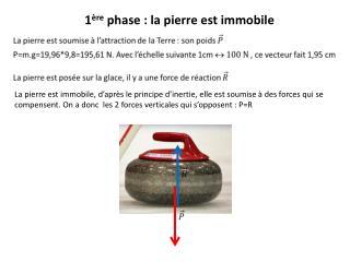 La pierre est immobile, d'après le principe d'inertie, elle est soumise à des forces qui se