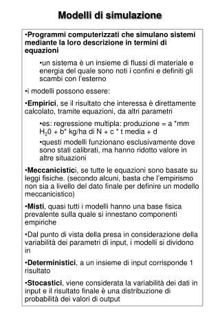 Modelli di simulazione