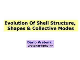 Evolution Of Shell Structure,  Shapes & Collective Modes