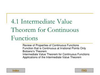 4.1 Intermediate Value Theorem for Continuous Functions