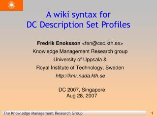 A wiki syntax for  DC Description Set Profiles