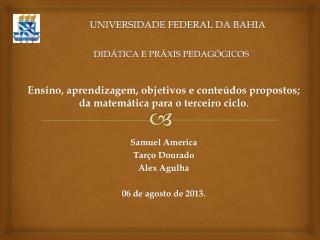 UNIVERSIDADE FEDERAL DA BAHIA DIDÁTICA E PRÁXIS PEDAGÓGICOS