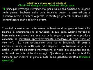 GENETICA FORWARD E REVERSE
