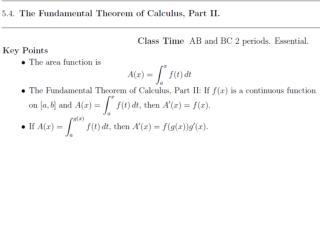 To state Part II, we introduce the  area function of   f  with  lower limit  a :