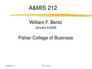 AMIS 212 1 W. F. Bentz