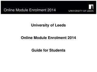 Online Module Enrolment 2014