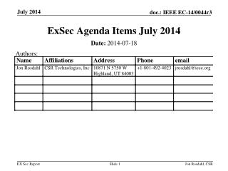 ExSec  Agenda Items July 2014
