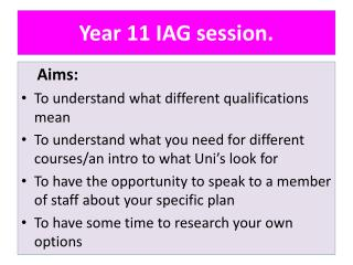 Year 11 IAG session.