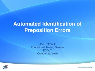 Automated Identification of Preposition Errors