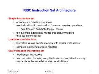 RISC Instruction Set Architecture