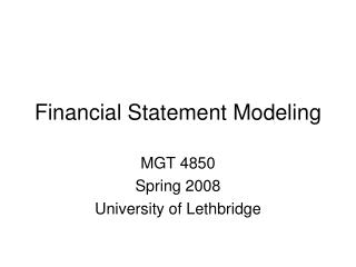 Financial Statement Modeling