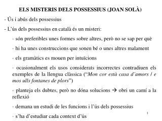 ELS MISTERIS DELS POSSESSIUS (JOAN SOL�)  �s i ab�s dels possessius