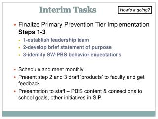 Interim Tasks