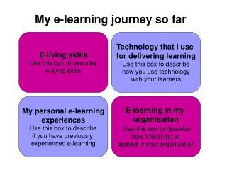 My e-learning journey so far