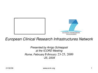 European Clinical Research Infrastructures Network Presented by Arrigo Schieppati