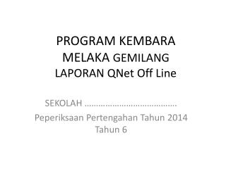 PROGRAM KEMBARA  MELAKA  GEMILANG  LAPORAN  QNet  Off Line