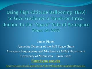 James Flaten Associate Director of the MN Space Grant