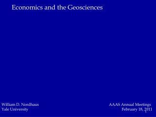 Economics and the Geosciences
