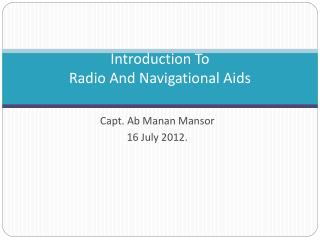 Introduction To Radio And Navigational Aids
