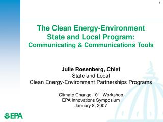 The Clean Energy-Environment  State and Local Program: Communicating & Communications Tools