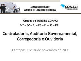 Controladoria, Auditoria Governamental, Corregedoria e Ouvidoria