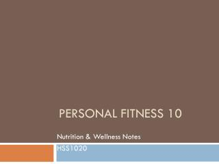 Personal Fitness 10