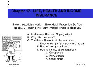 Chapter 17.  LIFE, HEALTH AND INCOME INSURANCE
